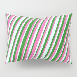 Forest Green, Hot Pink, and Light Cyan Colored Stripes/Lines Pattern Pillow Sham