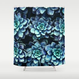 Blue And Green Succulent Plants Shower Curtain