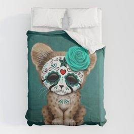 Blue Day of the Dead Sugar Skull Cheetah Cub Comforters