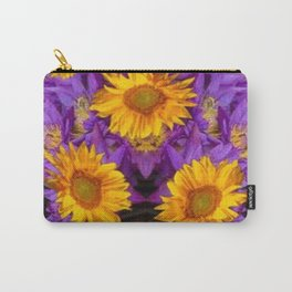 YELLOW SUNFLOWERS AMETHYST FLORALS Carry-All Pouch