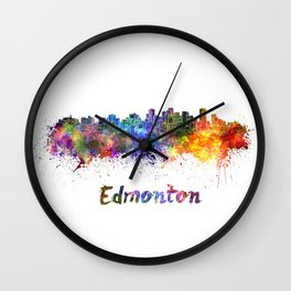 Edmonton skyline in watercolor Wall Clock