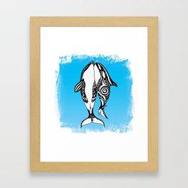 Two Orca Whales Tribal Blue Art Framed Art Print