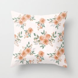 Pink Flowers with Berries Pattern Throw Pillow
