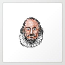 William Shakespeare Head Watercolor Art Print