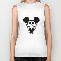 mickey Biker Tanks featuring Mickey Duck by cmyka
