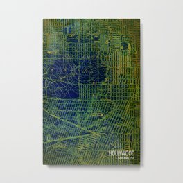 Holywood old map year 1924 green art print Metal Print