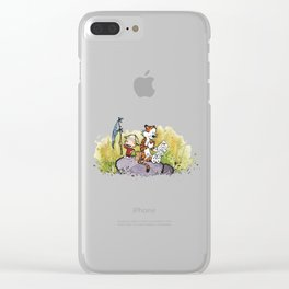 Calvin And Hobbes mapping Clear iPhone Case