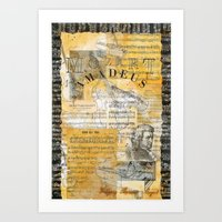 mozart Art Prints featuring Mozart by Victoria Lundin