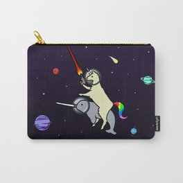 Llamacorn Riding Narwhal In Space Carry-All Pouch