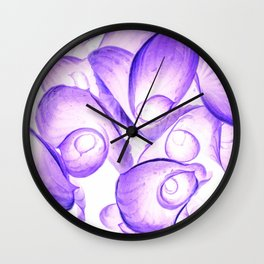 Abstract Purple Flora Pattern Print,Modern Photography Print Wall Clock
