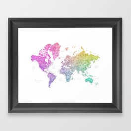 "Rainbow watercolor world map with cities ""Leo"" Framed Art Print"