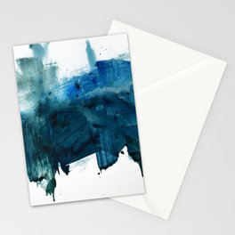 Change: A minimal abstract acrylic painting in blue and green by Alyssa Hamilton Art Stationery Cards