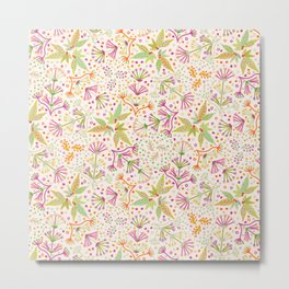 Spring Flower Meadow, Sunny Vibes in Orange, Lime & Fuchsia Pink Floral Blooms Metal Print