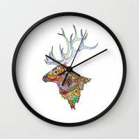 elk Wall Clocks featuring Elk  by kristinasheufelt