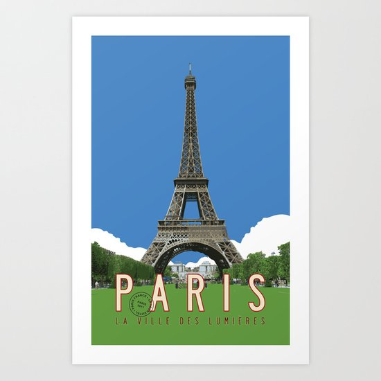 Paris Travel Poster - Vintage Style Art Print