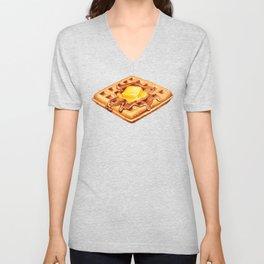 Waffle Pattern Unisex V-Neck
