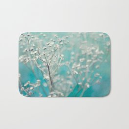Ice blue - floral Bath Mat