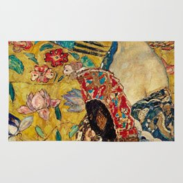 Gustav Klimt Lady With Fan Rug