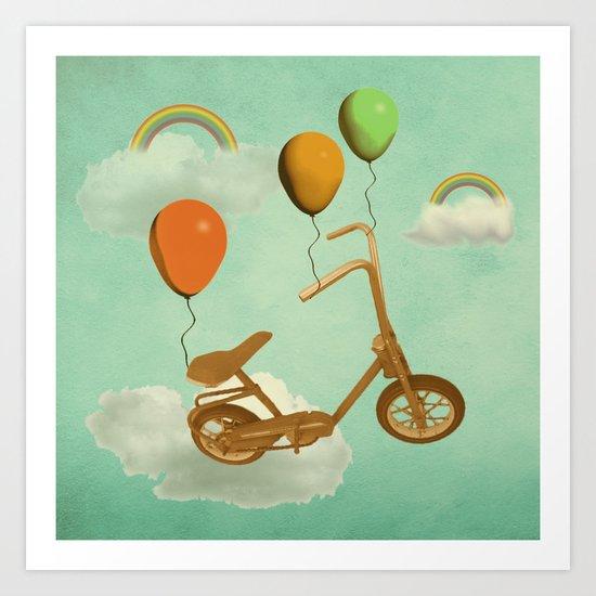 in my world, we bike from cloud to cloud ! Art Print