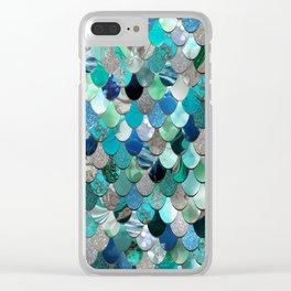 Mermaid Sea, Tea,l Aqua, Silver, Grey Clear iPhone Case