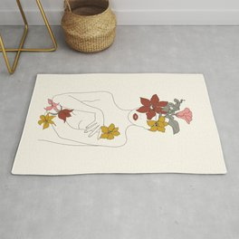 Colorful Thoughts Minimal Line Art Woman with Flowers IV  Rug
