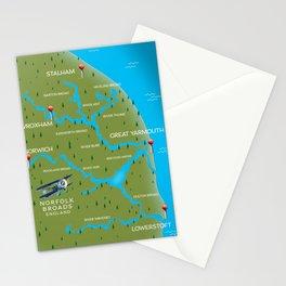 Norfolk Broads England navigation map. Stationery Cards