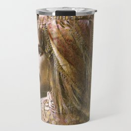 Vintage Decorative Girl and Bird Portrait Travel Mug