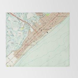 Vintage Map of Wildwood NJ (1955) Throw Blanket