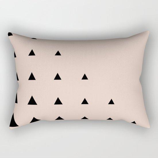 Black Triangles on Blush Rectangular Pillow