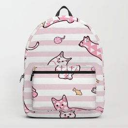 Pink Cats Striped Pattern Backpack