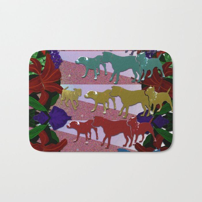 Dogs and Flowers Bath Mat