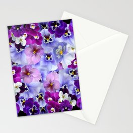 PURPLE-WHITE-PINK PANSY FLOWERS & BLACK Art Stationery Cards