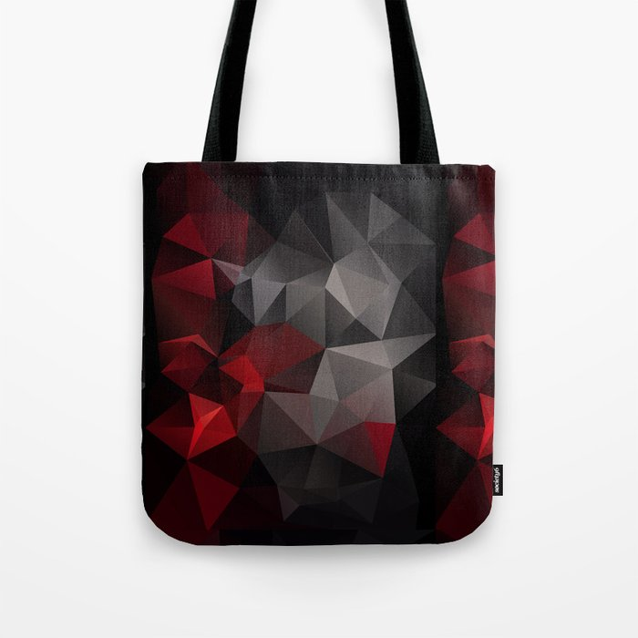 Polygon red black triangles . Tote Bag