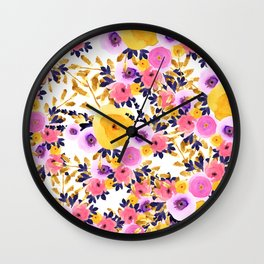 Pink purple lavender yellow hand painted watercolor floral Wall Clock