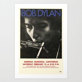 Vintage 1966 Bob Dylan Norfolk Virginia Concert Poster Art Print