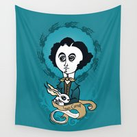 writer Wall Tapestries featuring Lewis Carroll Holly Writer by roberto lanznaster