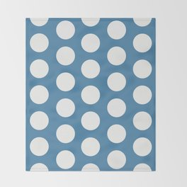 Large Polka Dots on Blue Throw Blanket