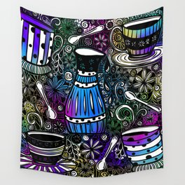 Coffee and Tea Time with flowers, swirls & rainbow background Wall Tapestry