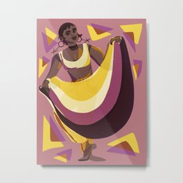 Nonbinary Dancer with Flag Metal Print