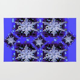 BLUE WINTER HOLIDAY SNOWFLAKES PATTERN ART Rug