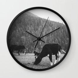 Grazing Cattle, Kashmir, India -2 Wall Clock