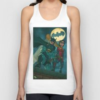 justice league Tank Tops featuring bat man the watch men justice league man of steel by Brian Hollins art