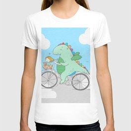 Chibi Dragon on Bicycle with Girl T-shirt