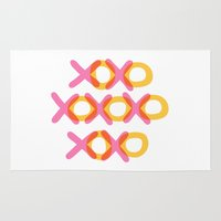 xoxo Area & Throw Rugs featuring XOXO by ghennah