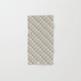 Mid-Century Modern Check Cerused Wood White Oak Hand & Bath Towel