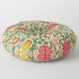 William Morris Roses Floral Textile Pattern Floor Pillow