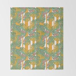 Golden Monstera Pinstripe Throw Blanket