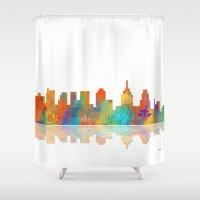 philadelphia Shower Curtains featuring Skyline Philadelphia by Marlene Watson