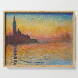 San Giorgio Maggiore at Dusk Painting by Claude Monet Serving Tray