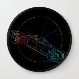 Аstronaut on cabriolet in space, continuous line Wall Clock
